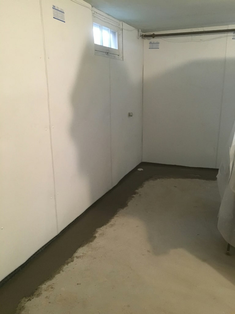 Interior water proofing of basement in Green Bay, WI